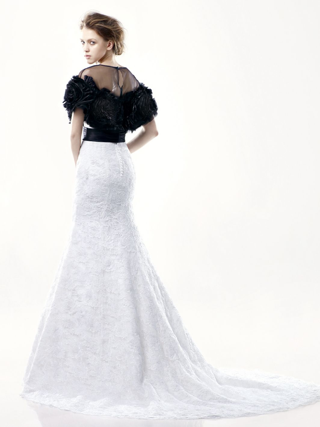 Enzoani-Dillon-black-jacket-wedding-gown-back