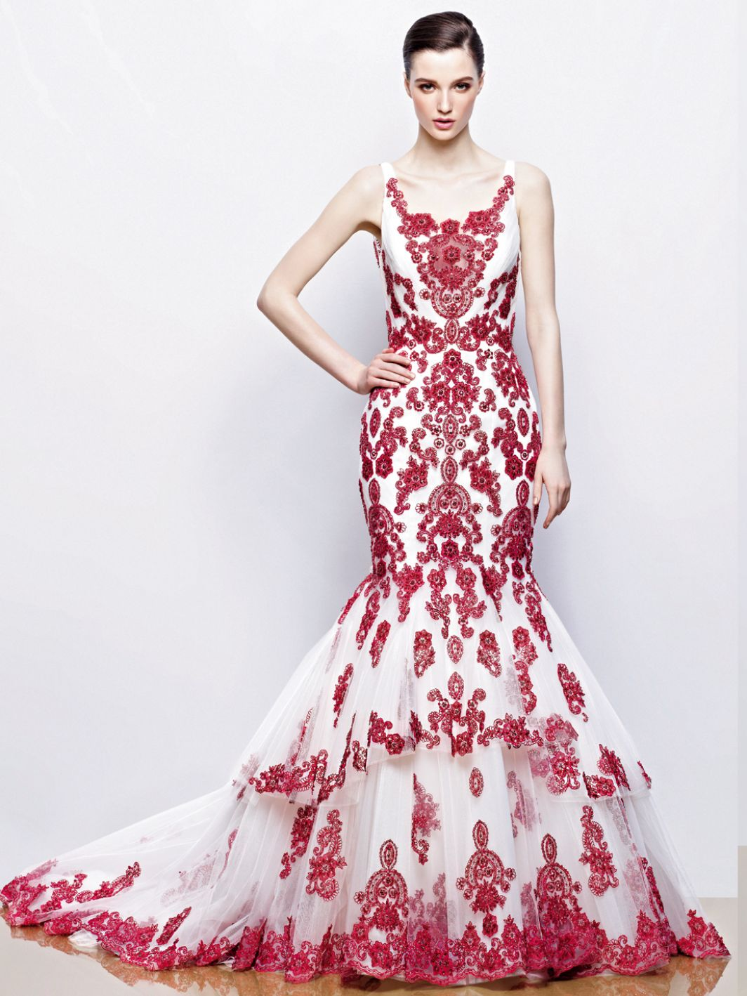 Enzoani-Ilyssa-red-embroidered-mermaid-gown