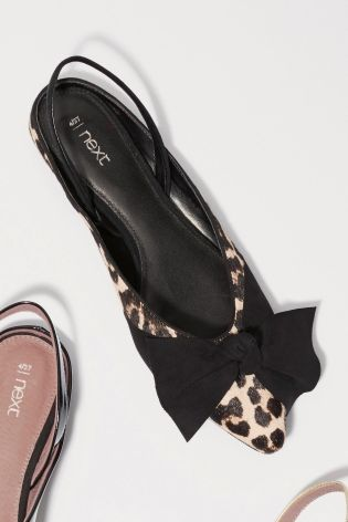 Leopard Print Leather Slingback Bow Points £48